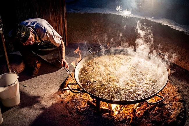 Traditional Paella in woodfire