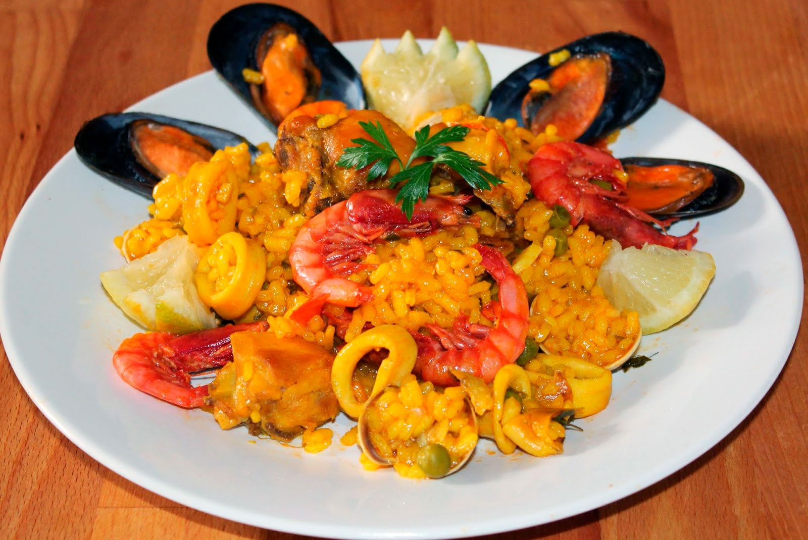 Paella in the microwave with seafood