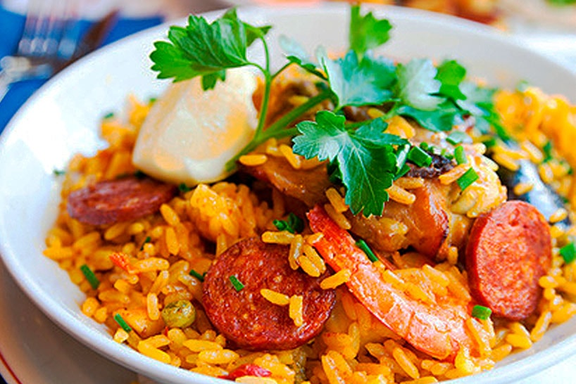 Mixed paella chicken, seafood and chorizo.